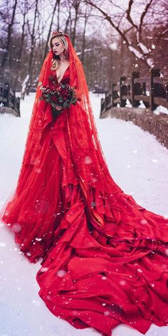 Elegant Red Gothic Wedding Dress *Can be Customized!* Elegant Red Gothic Wedding Dress - Station Of Colored Hairs Wedding Dress Empire, Black Wedding Dresses, Elegant Wedding Dress, Wedding Dresses For Sale, Wedding Dress With Red, Designer Wedding Dresses, Black Weddings, Dresses Elegant, Vintage Dresses