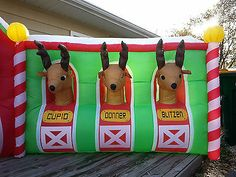 "... ""North Pole Reindeer Stable"" Inflatable Holiday Yard Decor 