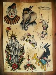 Elephant nd clown possible tattoo. Flash Card Circus Tattoos