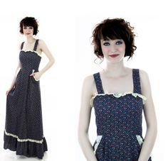 70s Festival Dress Vintage Prairie Sundress by neonthreadsdesigns, $62.00
