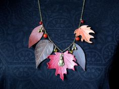 necklace leather autumn leaves, red maple leaf, hare, berry beads, necklace natural, romantic nature lover necklace .