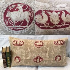 """Antique FRENCH Fabric X-Large Bolster, Made-to-Order Pillowcase, Rare 19th Century Toile de Jouy Fabric, French Linen, French Country Decor. RARE 1800s Toile de Jouy French Fabric made into a NEW Upcycled X-Large Pillowcase. FULLY-LINED Bolster. Stunning Antique French Linen with Medallions, Cartouches, and Female Figurines. Lovely Matching Ivory Fringe. PILLOW BACK: Quality Dark Red Cotton and Antique Glass Buttons to secure the pillow insert. Made-to-order in 5-7 days. SIZE: 30"""" X 15""""…"""
