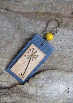 WoodBurned Earrings Dandelion Bloom by BirchandBlooms on Etsy, $20.00