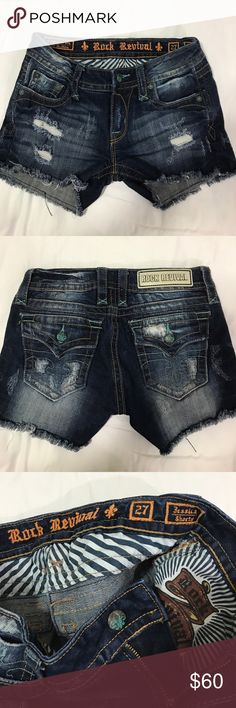 Rock Revival Jessica shorts 27 Rock Revival Jessica super super cute distressed  cut of shorts inseam 3 inch rise 7.5 cute teal accent Excellent condition Rock Revival Shorts Jean Shorts