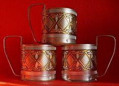 Vintage USSR Russian metal old tea Cup holder PODSTAKANNIK, 3 pcs