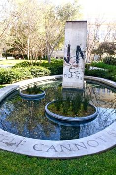 Piece of the Berlin Wall in Liberty Plaza, Chapman University