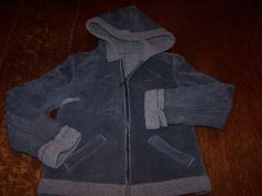 Guess Gray Leather Sherpa Jacket with Hood Womens Size S Small  | eBay