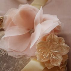 Handmade Fabric Tulle Flower - thought we might make these for our brooch bouquet??