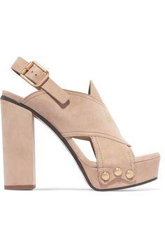 Chloé - Suede Platform Sandals - Beige - IT38.5