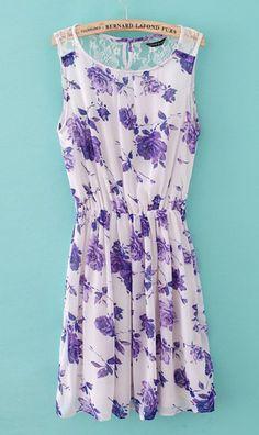 Rose print chiffon dress  #lavender #rose #floral
