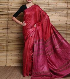 Pink Tussar Silk Saree