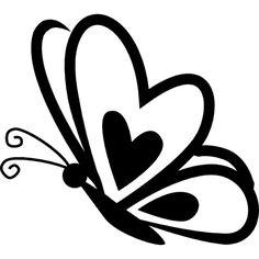 Papillon avec un coeur sur l'aile frontale sur la vue de côté