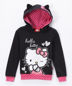 Love this Black & Pink Hello Kitty Hoodie - Girls by Weeplay Kids on #zulily! #zulilyfinds