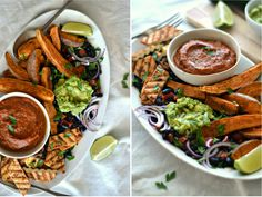 Grilled tofu, sweet potato, black bean salad with guacamole and grilled tomato…
