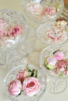 Cut glass in random sizes and styles painted and antiqued in old gold. Rose Cottage, Everything Pink, Decoration Table, Flower Decorations, Pink Roses, Flower Power, Tea Party, Flower Arrangements, Wedding Flowers
