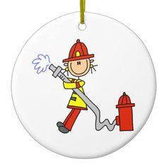 Female Firefighter With Hose T-shirts and Gifts Christmas Ornament