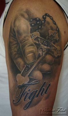 Cross in Hand, Fight, Tattoo, werni666