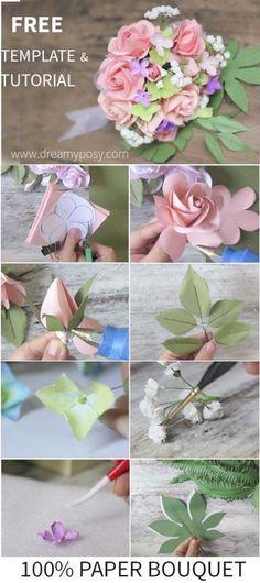 Diy paper bouquet wedding rose tutorial 55 ideas for 2019 Paper Flowers Wedding, Diy Wedding Bouquet, Diy Bouquet, Paper Flowers Diy, Paper Roses, Fake Flowers, Handmade Flowers, Flower Crafts, Rose Bouquet