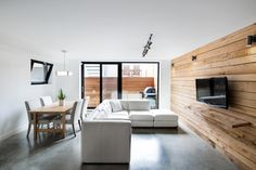 """Ukrainian architecture and design firm Olga Akulova Design completed the NPL. Penthouse, a contemporary residence located in Kiev, Ukraine. """"Detached concrete ceiling and glass-wall windows were fr… Concrete Ceiling, Concrete Walls, Exposed Concrete, Glass Walls, Design Industrial, Penthouse Apartment, Loft Design, Pent House, Apartment Ideas"""