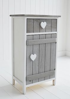 Grey and white Heart Cottage bedside lamp table