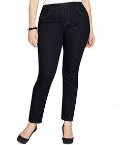 Macys - LakeSide Style&co. Plus Size Easy Fit Straight-Leg Jeans, Rinse Wash