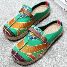Multicolor Bordado de Hebilla Folklóricas Pantuflas de Empeine Descubierto Zapatos Para Mujeres