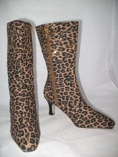 *SOLD* NEW Womens ANNIE BROWN BLACK ANIMAL PRINTS LEOPARD High Heels BOOTS SHOES $1 sorry SOLD ... we sell more WOMENS SHOES and SLIPPERS and SANDALS at http://www.TropicalFeel.com