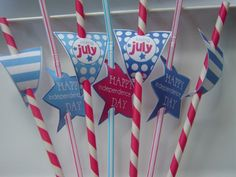 Decorate straws with mini pennant banner cut outs from Lauren McKinsey