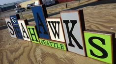 Thank you so much for shopping at my etsy shop! These Seattle Seahawks blocks are for all of you die hard Fans. The blocks range from 3.5 x 3.5 to 6 x 3.5. When set up this is a very large display over 2 feet long. A perfect gift for the 12th Man!  If you have any questions please feel free to convo me