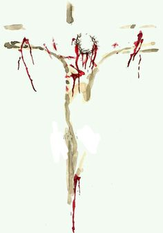 Beautiful abstract of Jesus on the cross by Kathie Whitesel