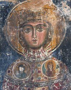 St Kyriake. Fresco. Late 13th c. Agios Georgios Agkonas church, Ormideia, Cyprus. Αγία Κυριακή-Ορμίδεια, Αγ. Γεώργιος Αγκώνος- Κύπρος
