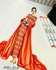 My most favorite one of 2019 Myanmar Academy 🧡🧡🧡🧡 . Dress Design Drawing, Dress Design Sketches, Fashion Design Sketchbook, Fashion Design Drawings, Fashion Sketches, Clothing Sketches, Fashion Illustration Hair, Fashion Illustration Tutorial, Fashion Illustrations