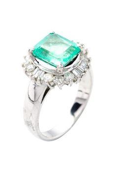 Platinum Emerald & Mixed Diamond Halo Estate Ring