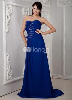 A-line Royal Blue Beading Chiffon Sweetheart Prom Dress. If you are looking for a gown with simplistic elegance, this one is a great choice. It is strapless and the bodice features diagonal lines of lovely beading and rhinestone accents. Down one side of the bodice, a beautiful c.. . See More A-line at http://www.ourgreatshop.com/A-line-C938.aspx