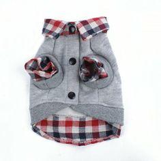 Urparcel Dog Cat Grid Sweater Puppy Warm T-Shirt Pet Clothes POLO Shirt Dog Coat Grey XS