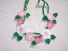 green thread crochet cord with flowers for applique or necklace -- 723 | CraneCrochet - Crochet on ArtFire