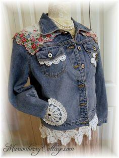 Prarire Gypsy Victorian boho demin upcycled jean jacket Vintage Lace and Crochet ECS size 12-14 misses. $69.00, via Etsy.