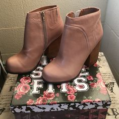 Jeffrey Campbell hanger beige boots Brand new! Never used. Size 7.5. Pinkish beige color. No flaws. Jeffrey Campbell Shoes Ankle Boots & Booties