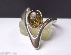 Vintage Sterling Silver Ring Baltic Natural green Amber Signed Modernist Shaped Sculpted