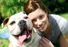Jessica Biel posed for a portrait with her beloved Bulldog, East, in LA back in June 2003.