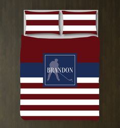 Baseball Bedding Set-Monogram Name-Duvet Cover-Shams-Rugby Stripes-Navy Blue-Burgundy-White-Choose Colors-Twin/Twin XL-Full/Queen-King-Size Birthday Presents For Teens, Teen Presents, King Duvet, Queen Duvet, Duvet Sets, Duvet Cover Sets, Rugby, Baseball Bed, Basketball Bedding