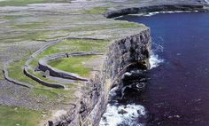 Prehistoric stone fort – Dún Aengus – at a cliff edge on Inishmore (largest of the Aran Islands) Ireland