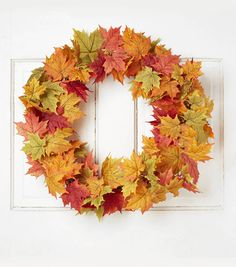 Blooming Autumn 22'' Maple Leaves & Berry Wreath-Orange Red & Green