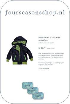 Jack met capuchon #fourseasonsshop.nl #jongensjas E 38, Four Seasons, Ecards, E Cards, Seasons Of The Year