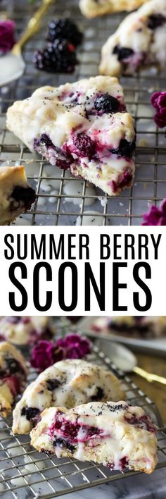 Low Carb Recipes To The Prism Weight Reduction Program Sweet Summer Berry Scones Are Buttery Scones Made With Fresh Summertime Berries, A Sunny Lemon Glaze, And A Sprinkling Of Poppy Seeds. Köstliche Desserts, Delicious Desserts, Dessert Recipes, Yummy Food, Breakfast Scones, Breakfast Recipes, Monkey Bread, Sweet Bread, Biscuits