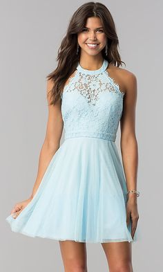 Lace-Bodice Homecoming Short Halter Party Dress - - Short Halter Homecoming Party Dress with Lace Source by semmagross Semi Dresses, Hoco Dresses, Elegant Dresses, Halter Dresses, Summer Dresses, Wedding Dresses, Casual Dresses, Fall Dresses, Dresses For School Dances