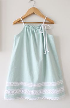 Toddler Girls Linen Dress Seafoam Green Summer by ChasingMini