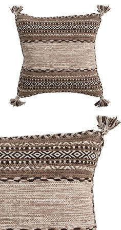 Weave a little texture into your interior design. Our Kennet Pillow is made with a cotton and chenille blend and features an intricate horizontal print. Braided edges and tasseled corners give this des...  Find the Kennet Pillow, as seen in the Throw Pillows Collection at http://dotandbo.com/category/decor-and-pillows/pillows/throw-pillows?utm_source=pinterest&utm_medium=organic&db_sku=128322
