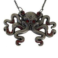 Octoskull Necklace Red Jewels   Kreepsville 666