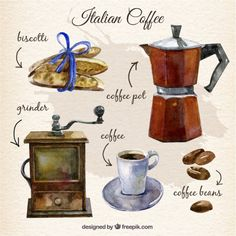 Pintado a mano elementos de café italiano